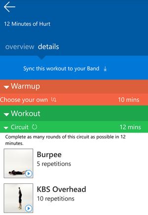 Microsoft Band 2 guided workouts