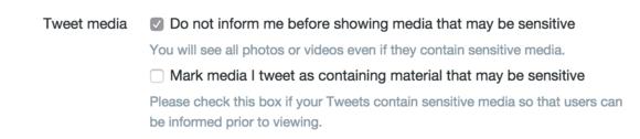 twitter tips sensitive material