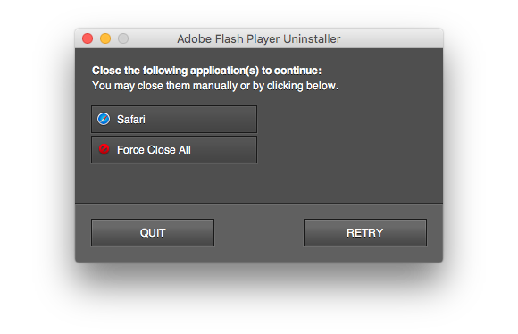uninstall flash step2