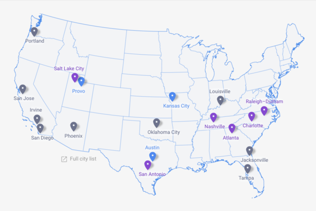 US Google Fiber map