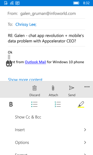 Windows Phone 10's rich formatting for email