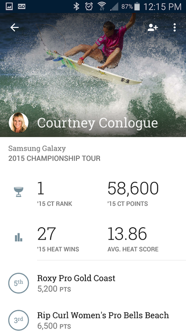 world surf league app athlete page
