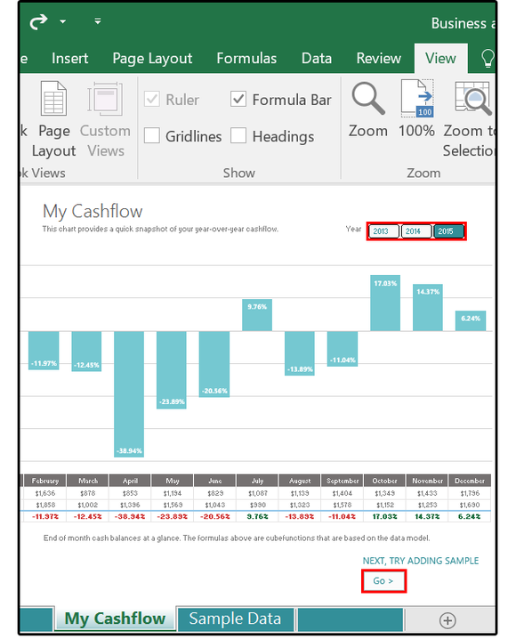 New template CashFlow chart