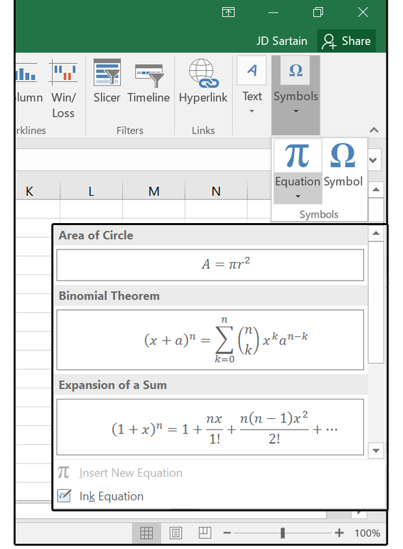 Ink Equations submenu