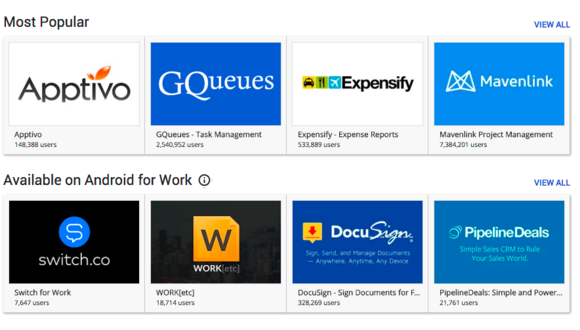 Google Apps Marketplace Android for Work
