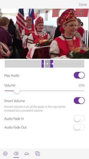 adobe premiere clip iphone audio controls