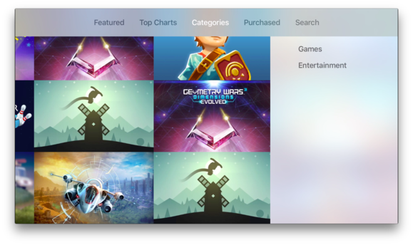 apple tv app store categories
