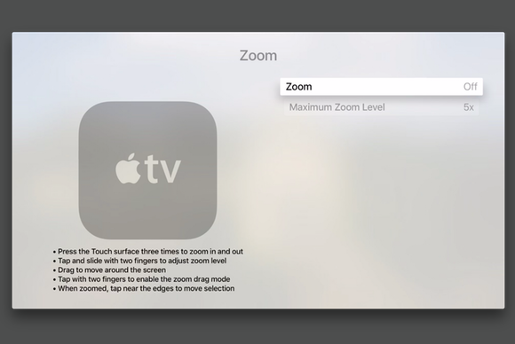 apple tv zoom in