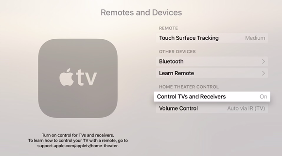 appletv settings remotes devices cec