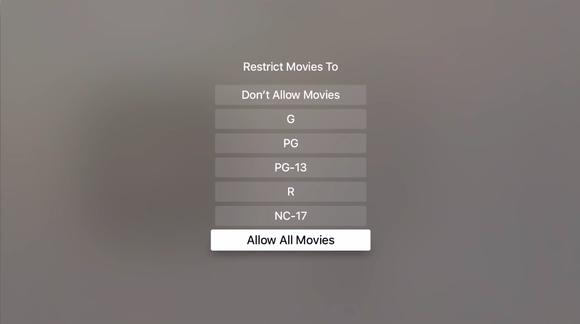 appletv settings restrictions movies