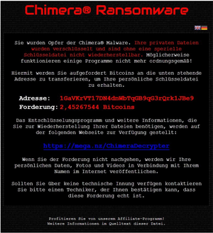 Chimera ransomware screenshot by Botfrei