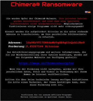Chimera ransomware screenshot by Botfrei