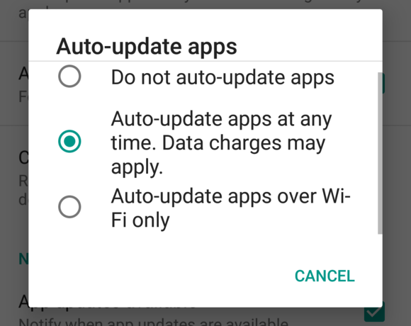 auto update settings