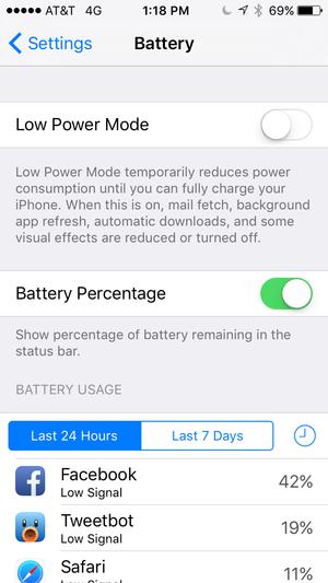 battery settings ios9