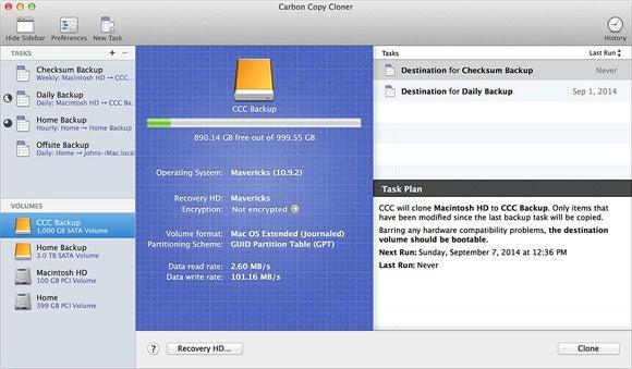 carbon copy cloner disk center