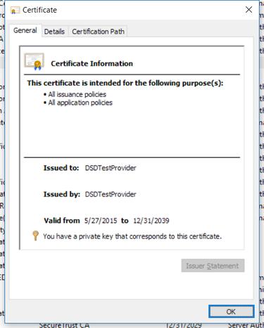 DSDTestProvider certificate