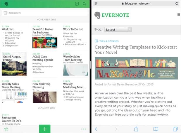 evernote split view