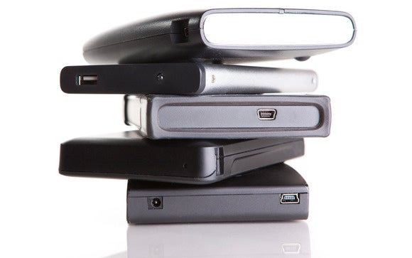 external hard drives stock