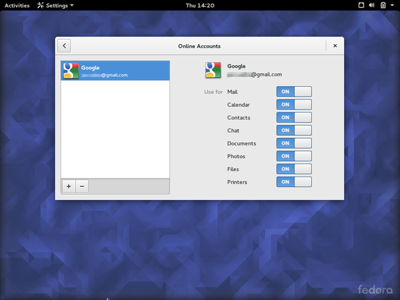 fedora23googleaccount