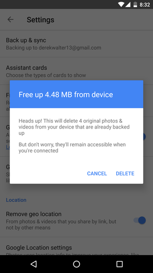 google photos free up storage