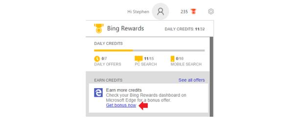 This Bing Rewards link opens Microsoft Edge