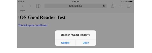 Safari's Open GoodReader? dialog