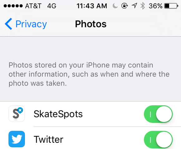 ios photos permissions settings