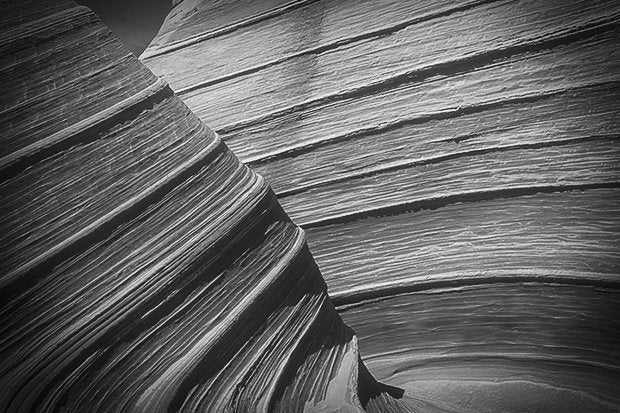 layered rock bw