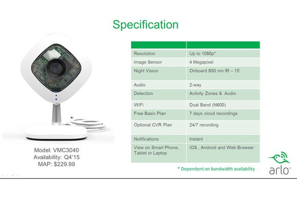 Netgear Arlo specifications