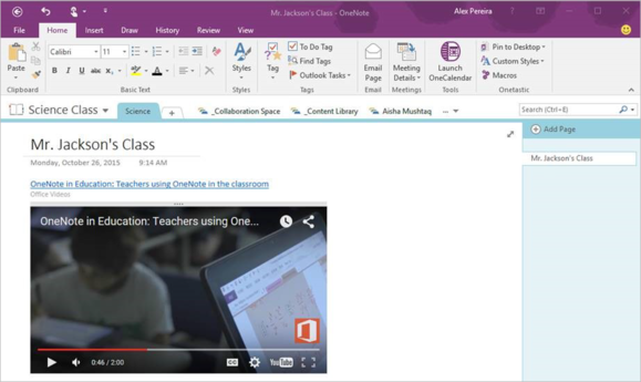 OneNote 2016 video embed
