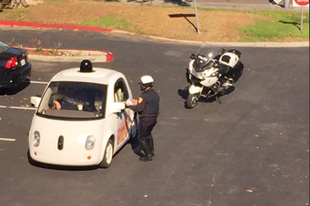 Google self driving car pulled over police Mountain View