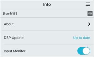 shure motiv app info pane