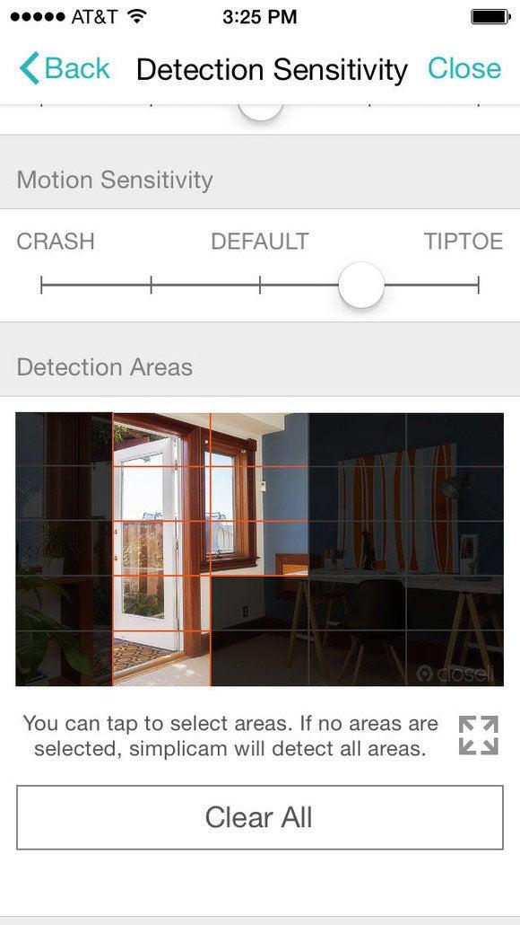 Simplicam detection zone