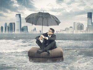 storm businessman clouds rain rough seas