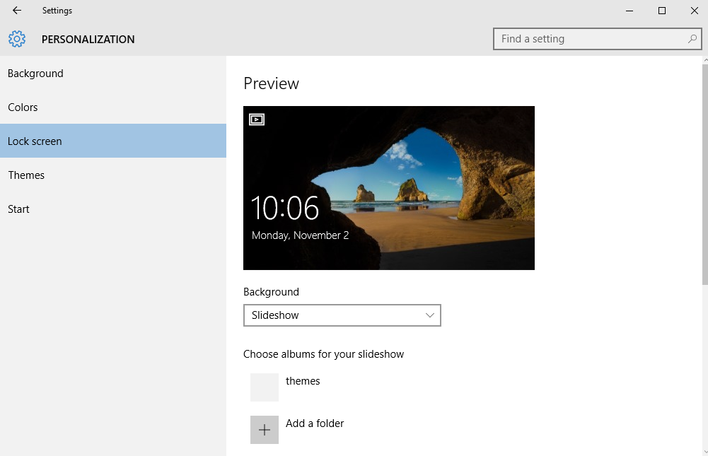 How to make a slideshow background on windows 10