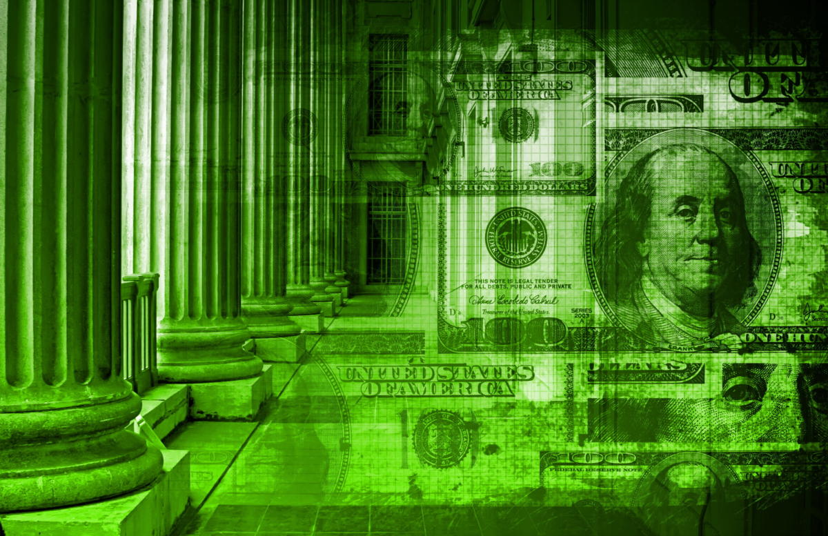 green collage of money and government buildings