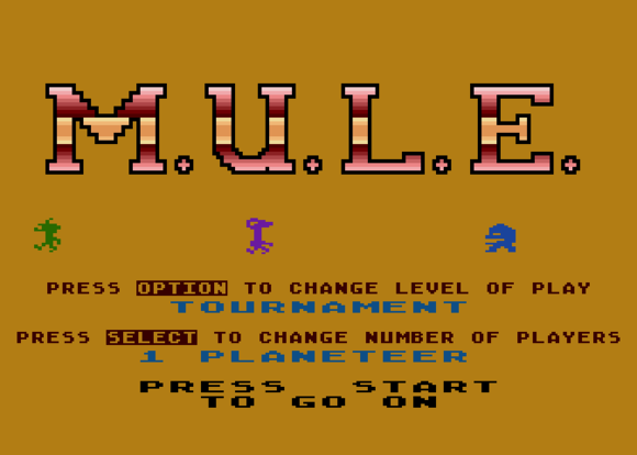 this old tech atari 800 mule title screen