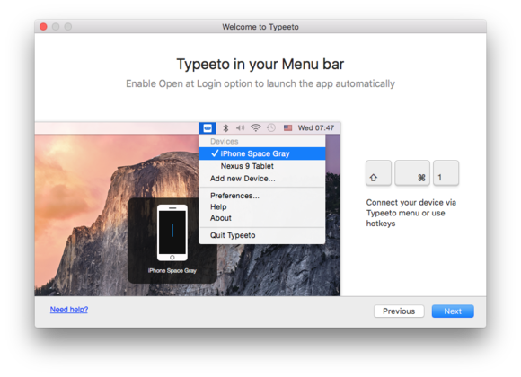 typeeto in menu bar