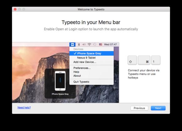 typeeto in menu bar