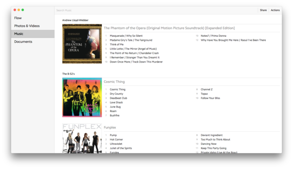 upthere home mac music view