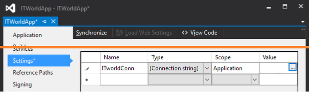 Settings, create Connection String