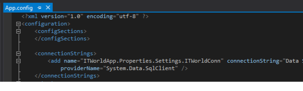 Connection saved in App.config file