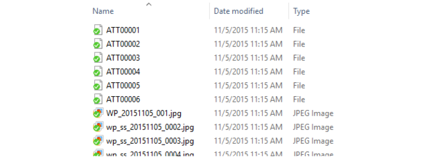 Extracted zip with extra ATT files