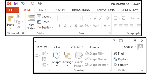2013 PowerPoint Ribbon + Tab menus - www.office.com/setup