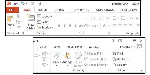 2013 PowerPoint Ribbon + Tab menus