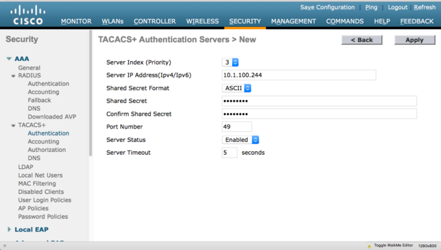 WLC TACACS+ Authentication Server