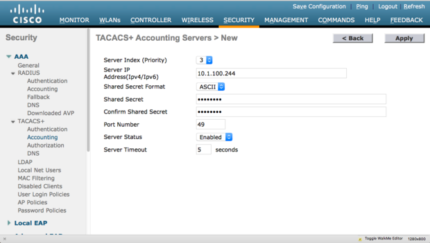 WLC TACACS+ Accounting server