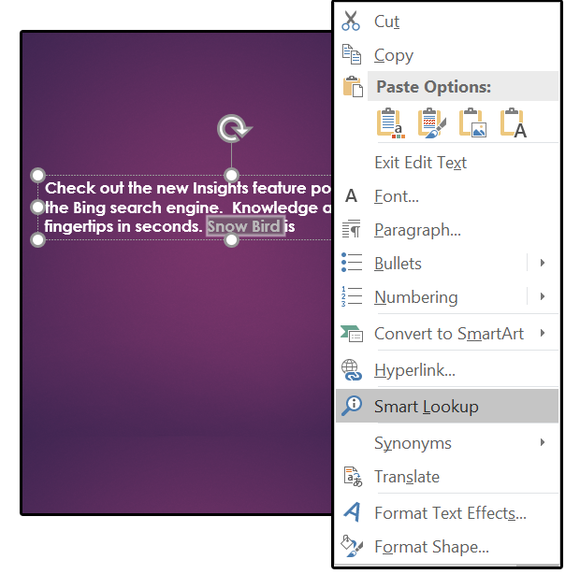Select a word, right click, choose Smart Lookup