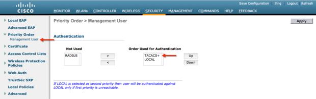 TACACS+ Management Login Order