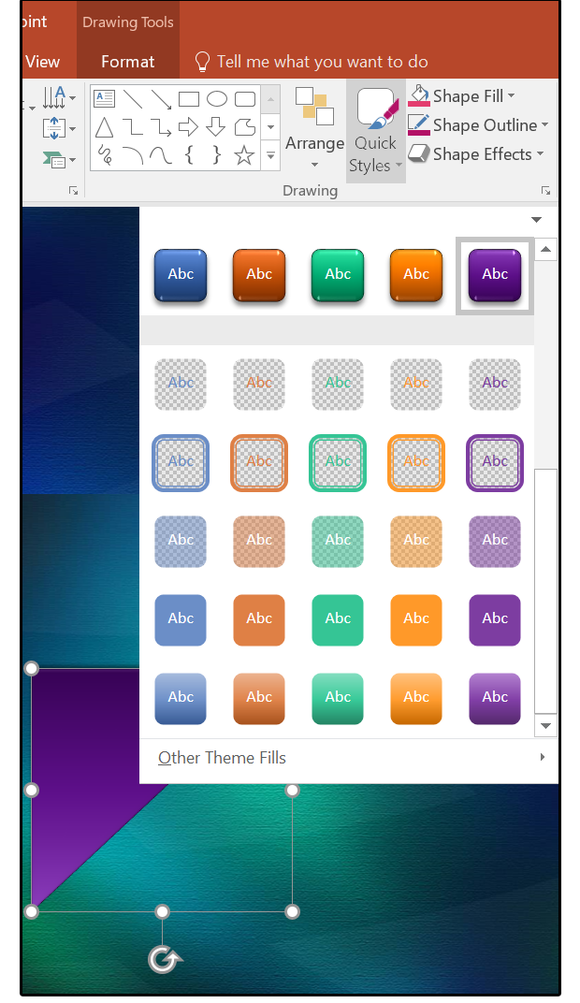 Quick Shape Formatting, new style presets